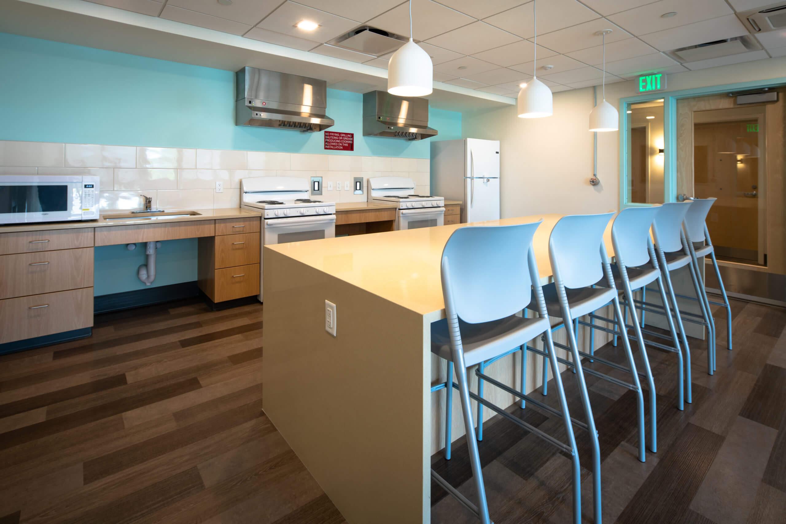 Empty community kitchen at blackburn center