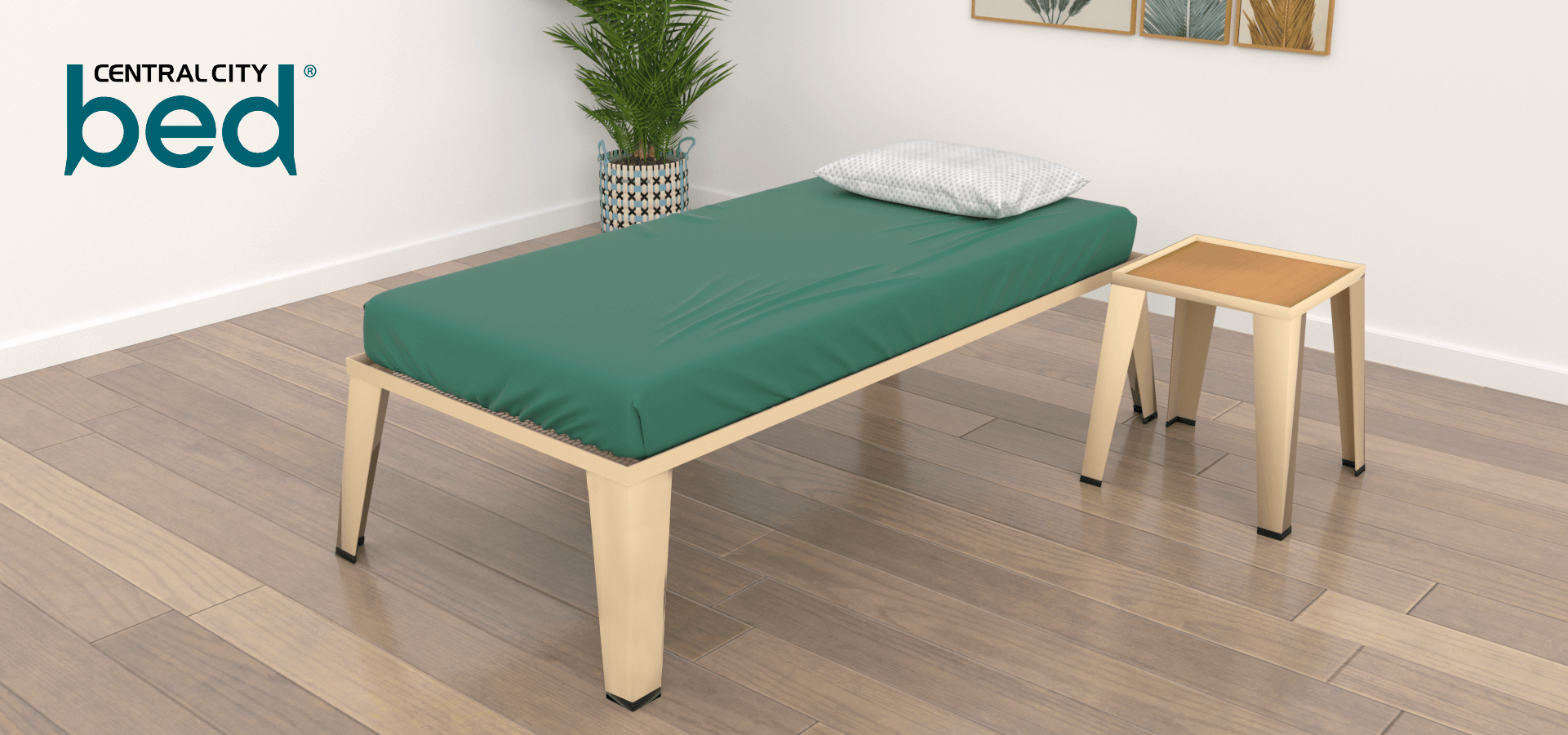 Product shot of central city beds with green mattress on bed frame